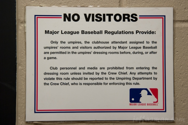 Sign outside Umpires Dressing Room @ Safeco Field.