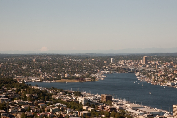 View northeast of University District and Mount Baker (83 miles) from Space Needle