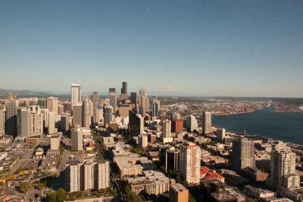 View south of city and Mount Ranier (55 miles) from Space Needle