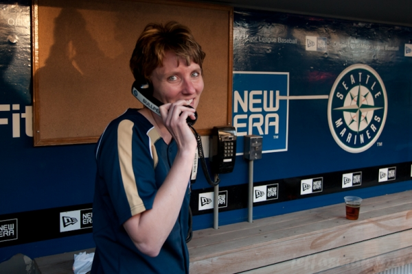 Kelli, practicing her US Cellular call to the Bullpen.
