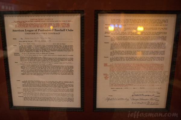 Copy of Babe Ruth's contract inside Diamond Club inside Safeco Field. $75,000 in 1932.