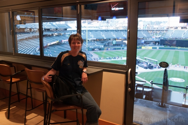 Kelli in suite at Safeco Field.