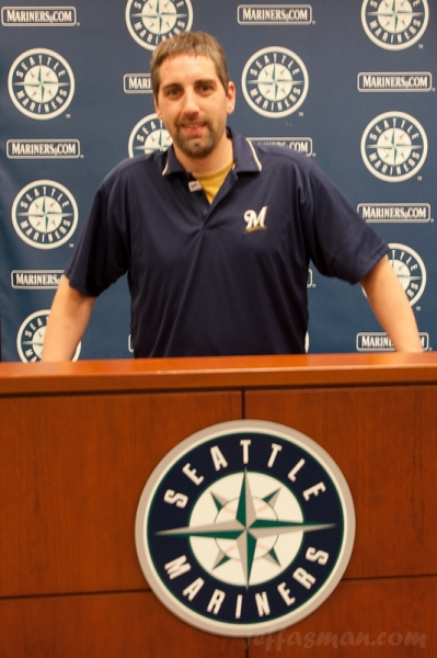 Post game interview with me, General Manager of the Seattle Milwaukee Mariner Brewers.