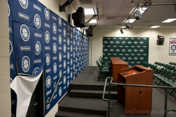 The unglamourous press room at Safeco Field.